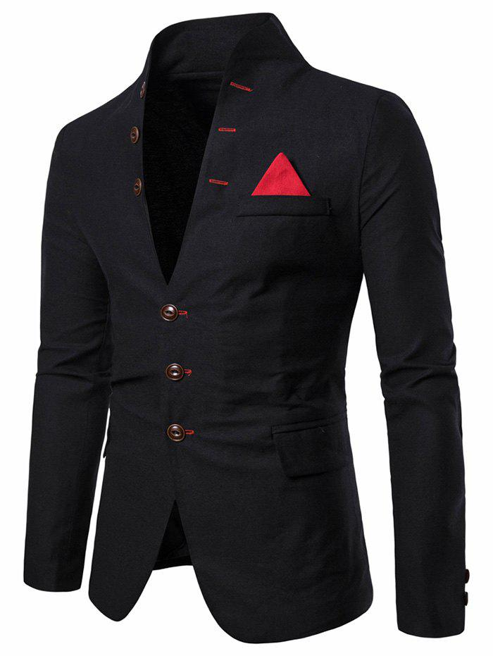 Best Color Spliced Button Long Sleeves Blazer
