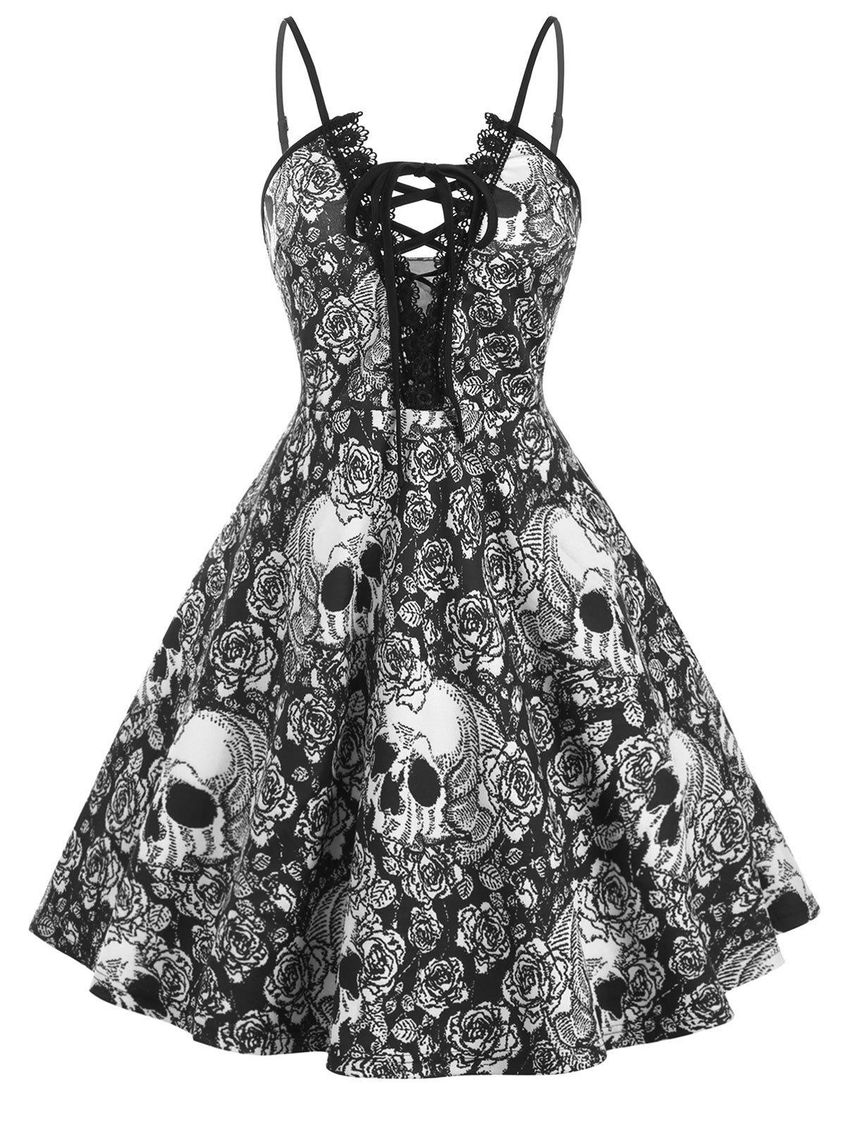 Outfits Lace Trim Halloween Skull Print Lace Up Plus Size Dress