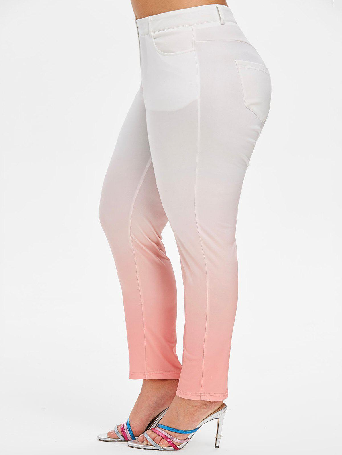 Fashion Mid Rise Pockets Ombre Plus Size Skinny Pants