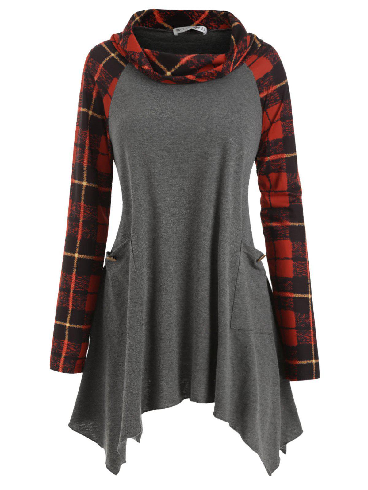 Chic Pockets Buttoned Cowl Neck Plaid Plus Size Top