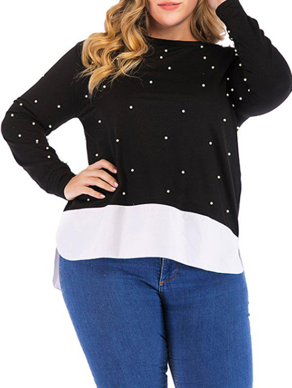 New Plus Size Faux Pearl Embellished High Low Sweatshirt