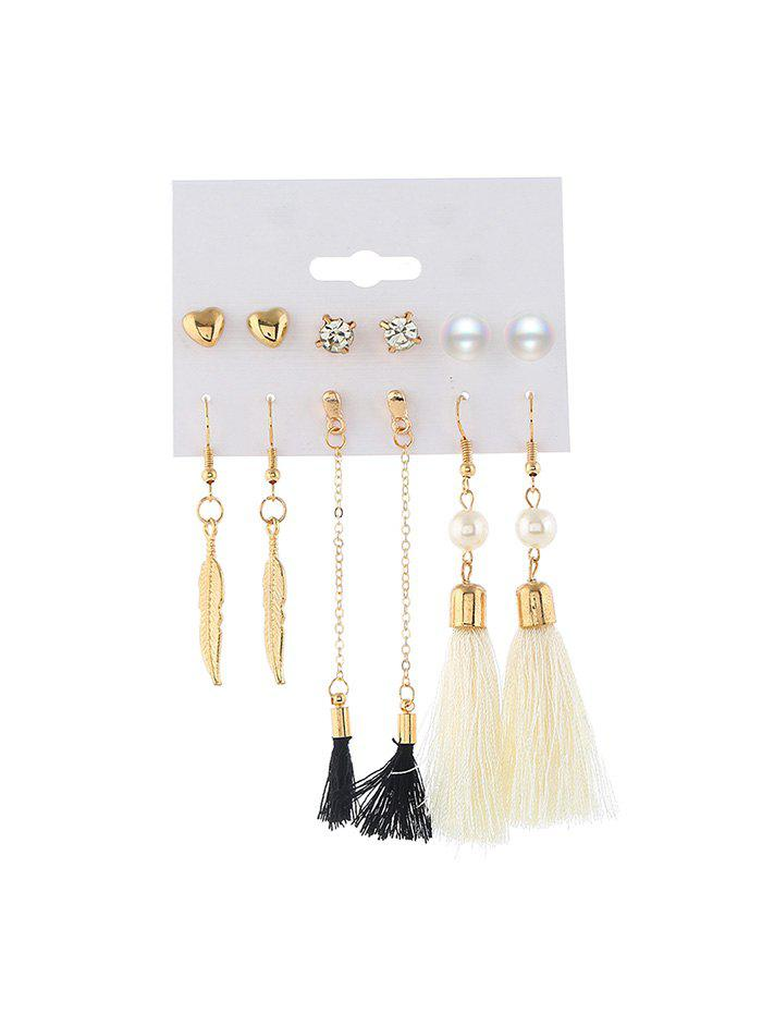 Sale 6 Piece Faux Peach Heart Leaf Long Tassel Earrings Set
