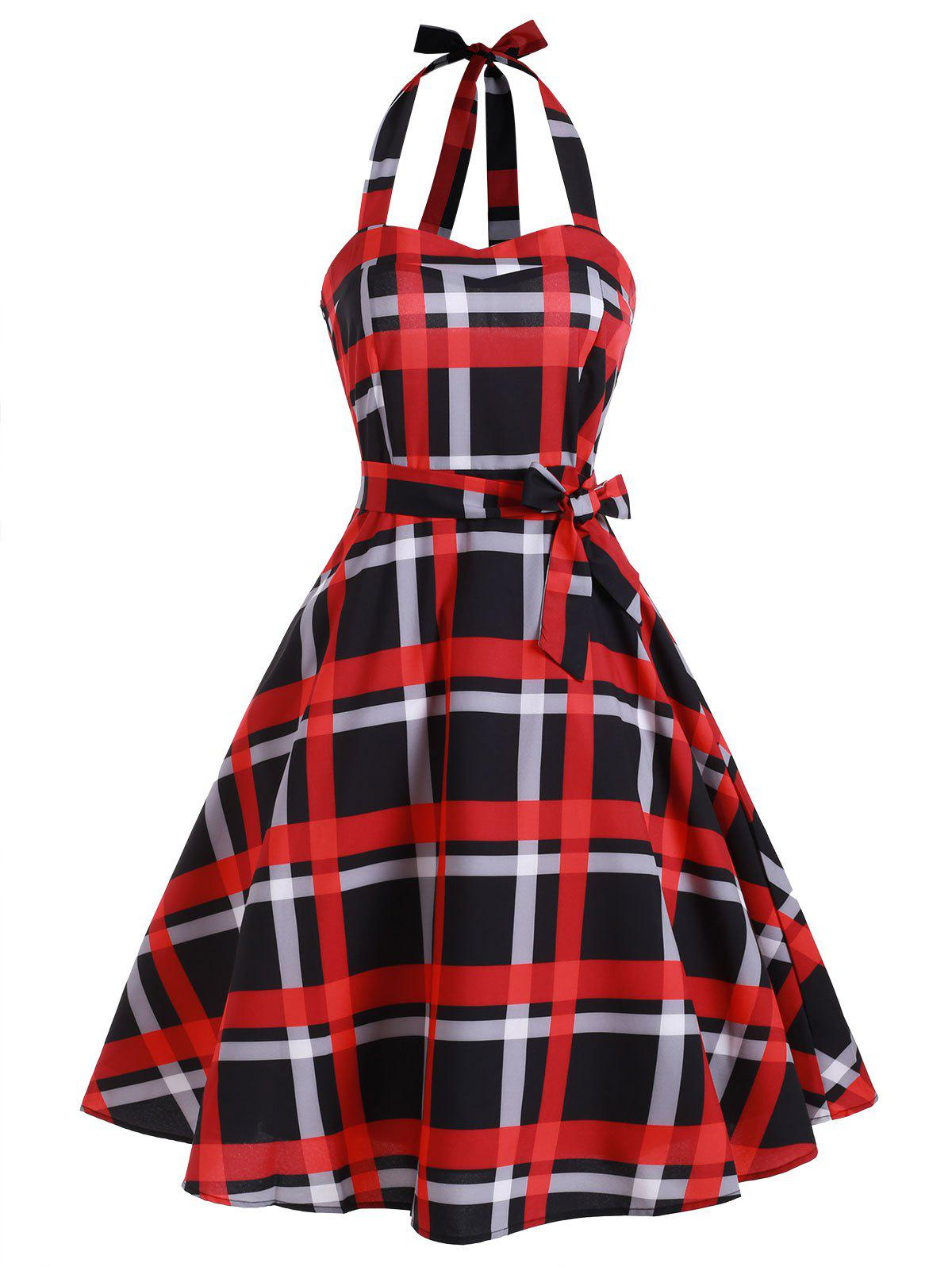 Cheap Plaid Shirred Lace-up Halter Vintage Dress