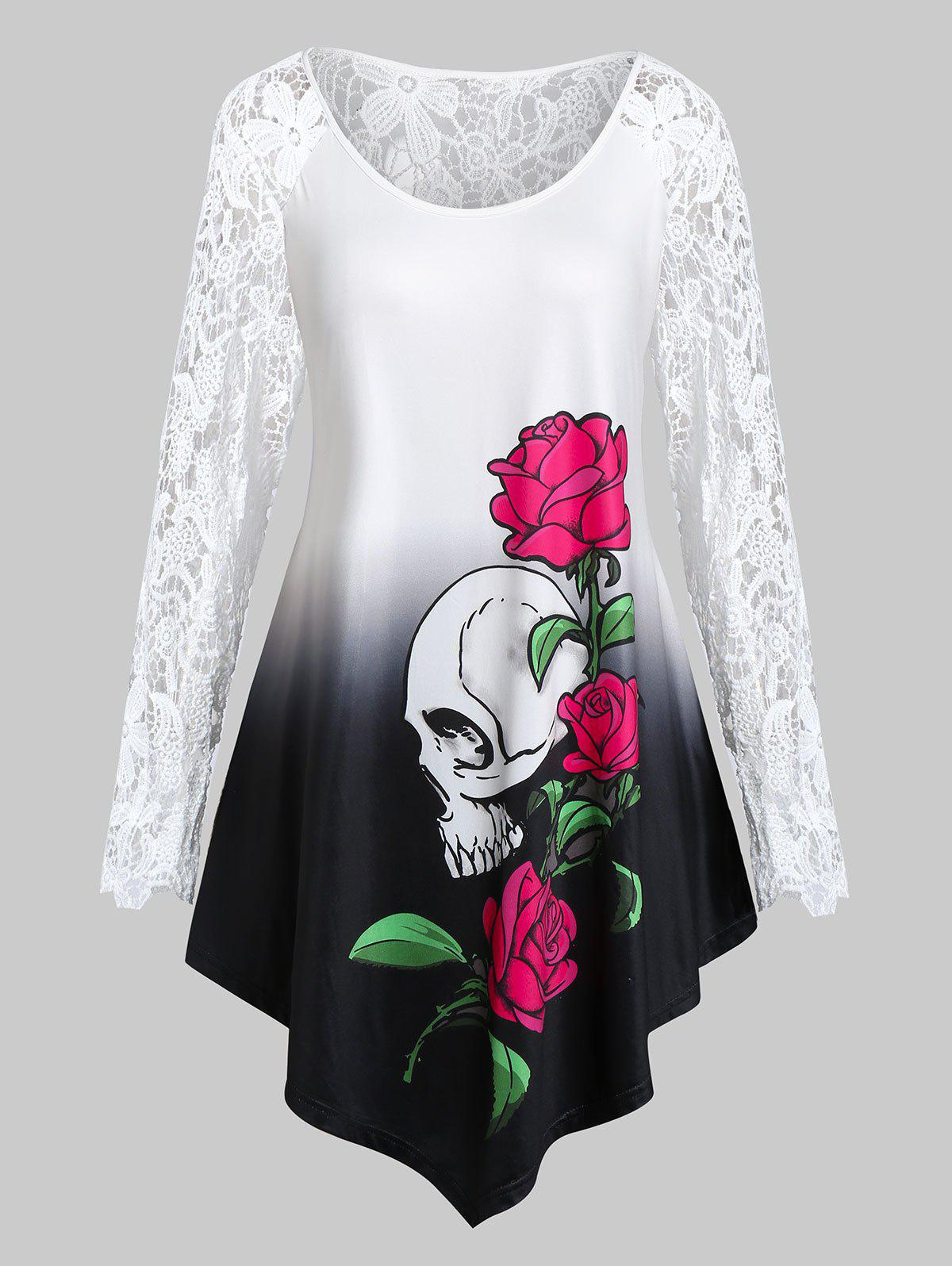 Latest Plus Size Halloween Skull Flower Crochet Asymmetrical Tunic Tee