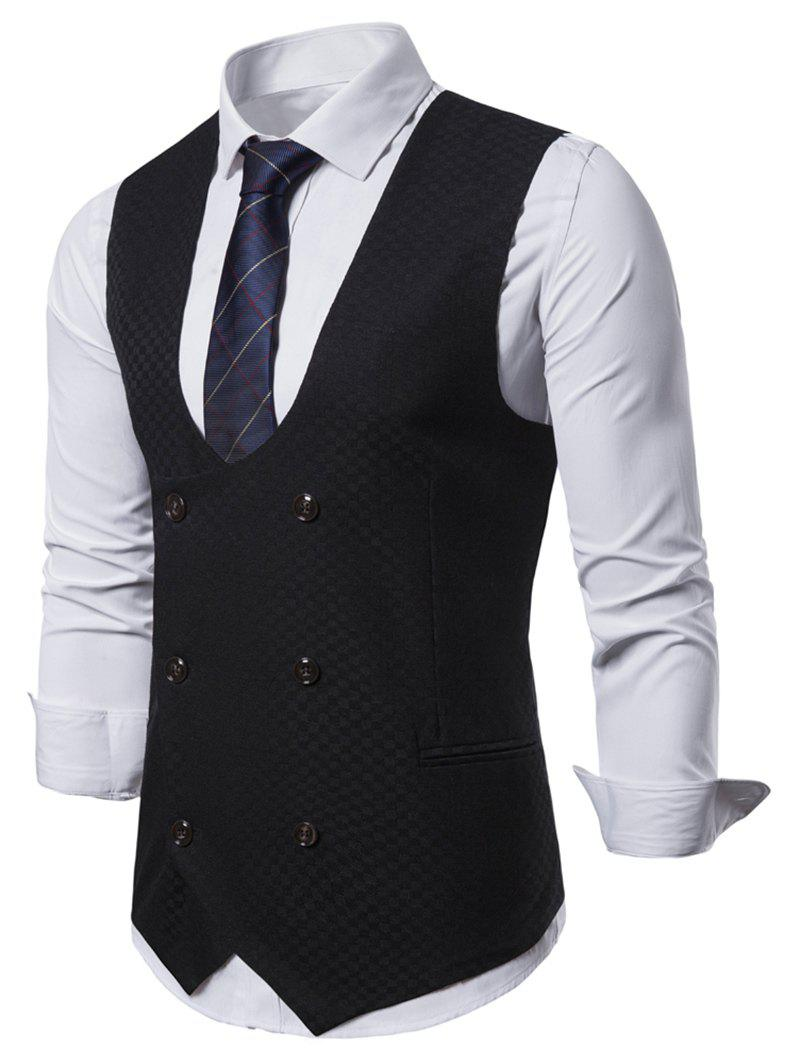 Shops Plaid Printed Double Breasted Waistcoat