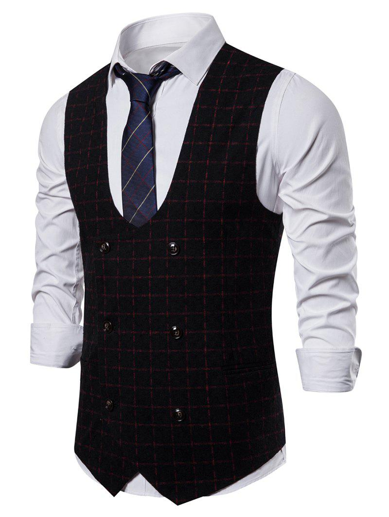 Unique Plaid Printed Double Breasted Casual Waistcoat