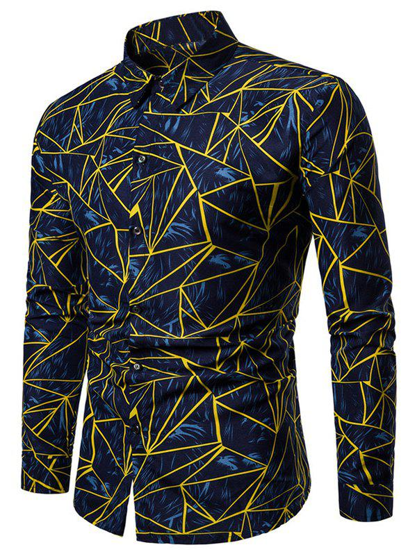 Affordable Plus Size Geometric Print Button Up Long Sleeve Shirt
