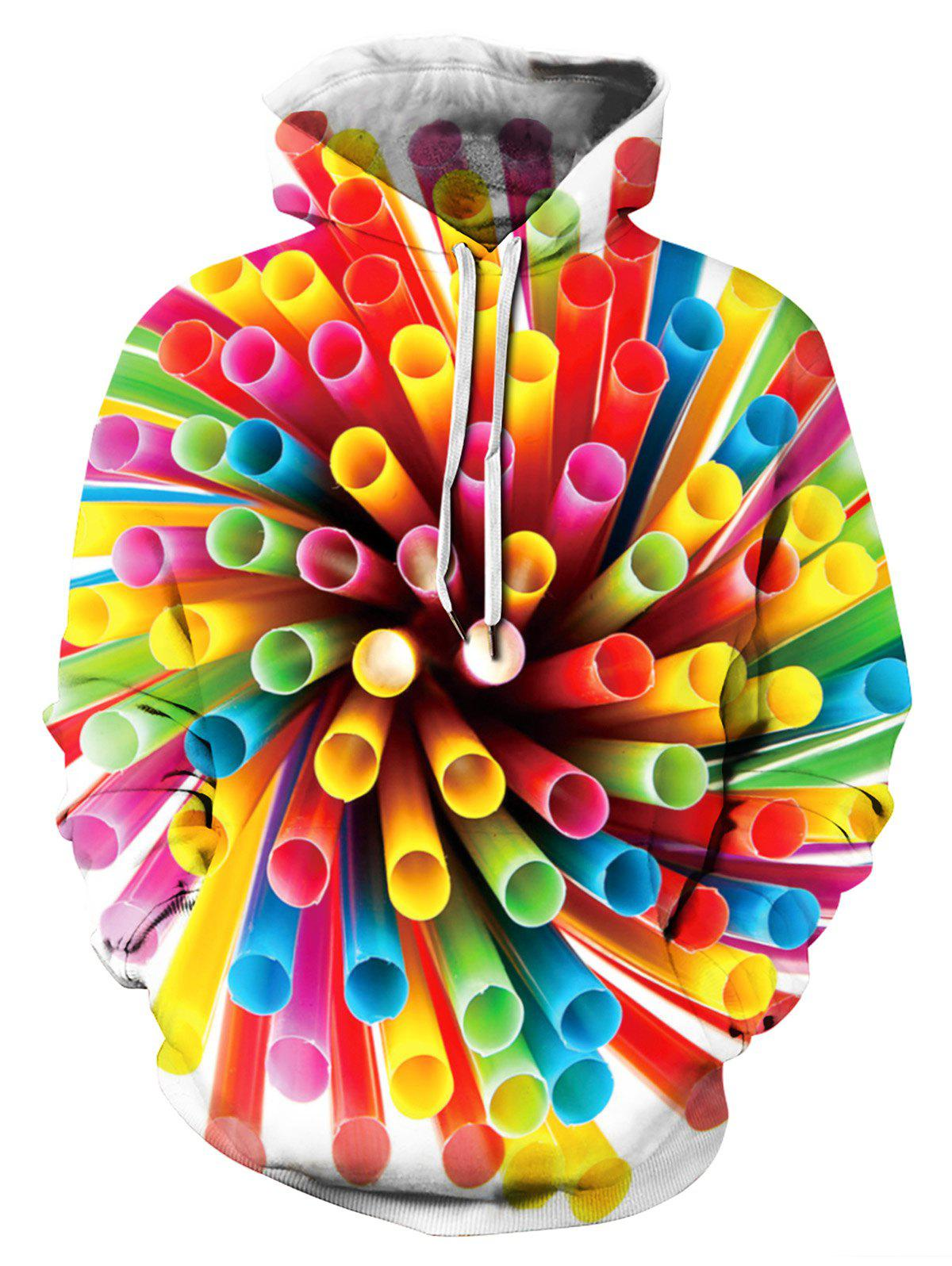 Latest 3D Colorful Tube Printed Hoodie