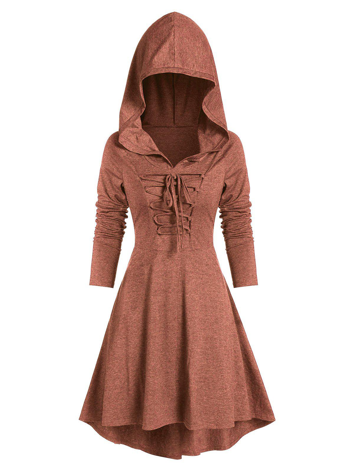 Lace-up High Low Hooded Heathered Gothic Dress, Tiger orange