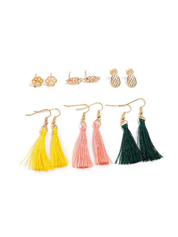 Fashion 6 Piece Pineapple Leaf Paw Print Thread Tassel Earrings Set