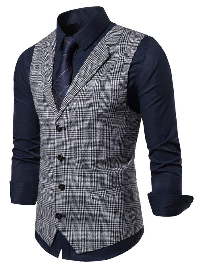 New Plaid Printed Single-breasted Waistcoat