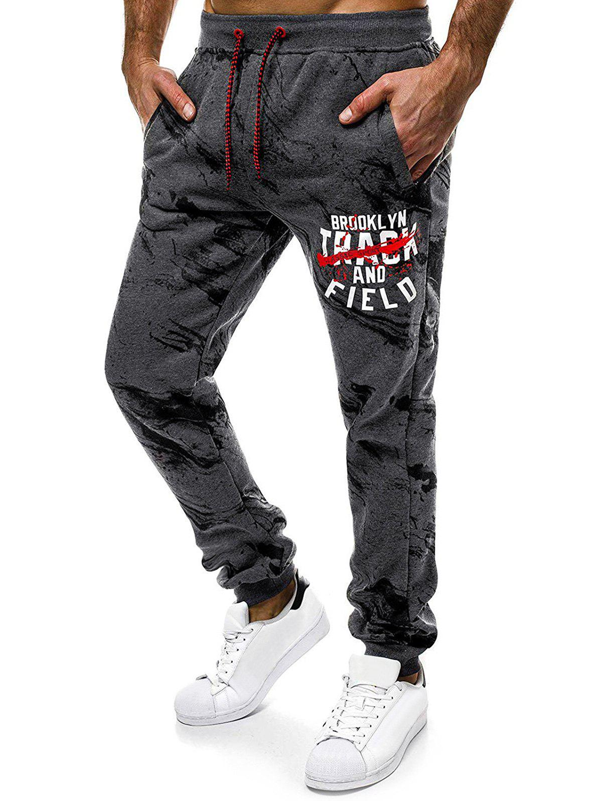 Store Letter Graphic Painting Print Drawstring Casual Jogger Pants