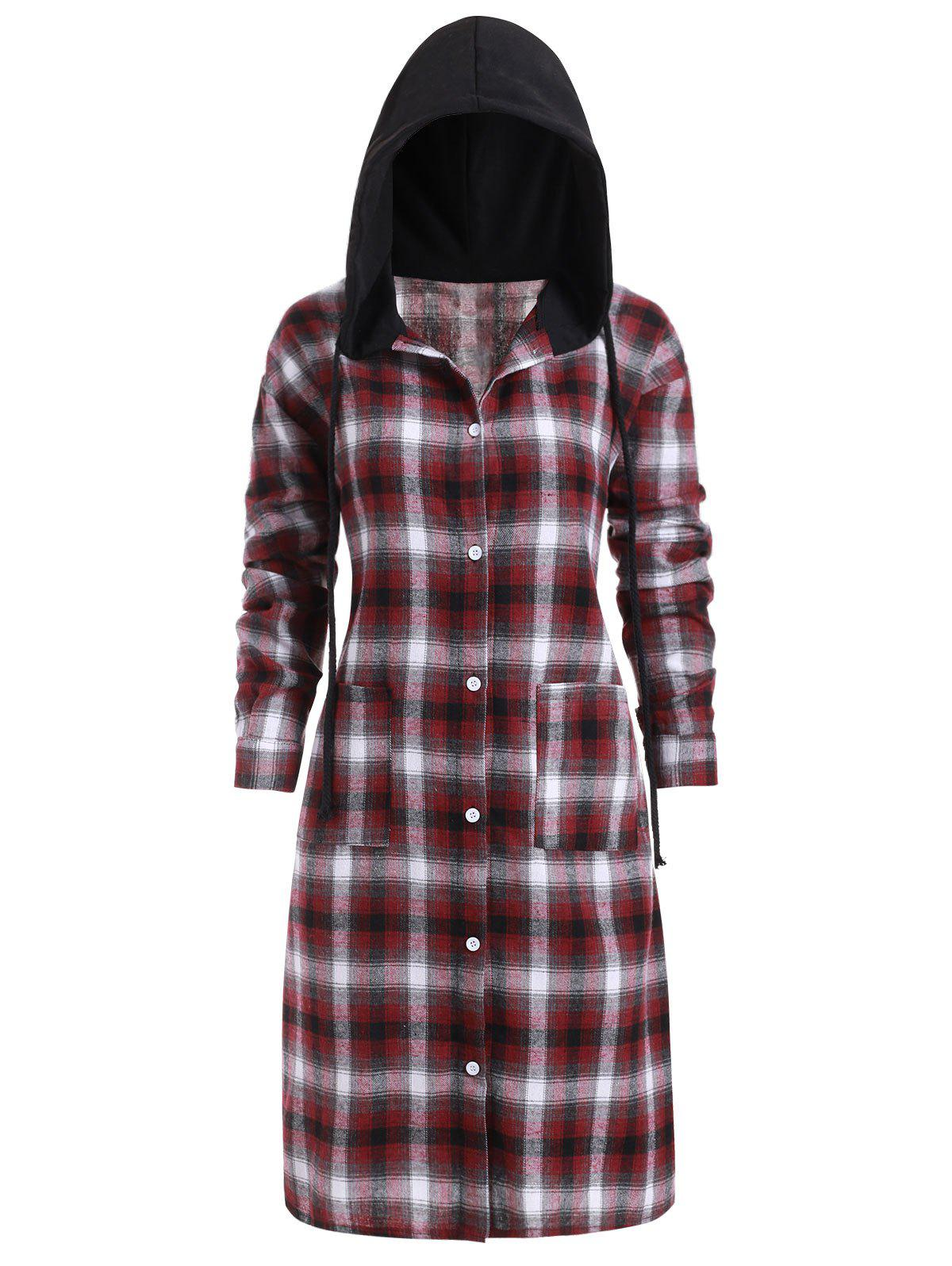 Fashion Slit Plaid Pockets Button Up Casual Plus Size Dress