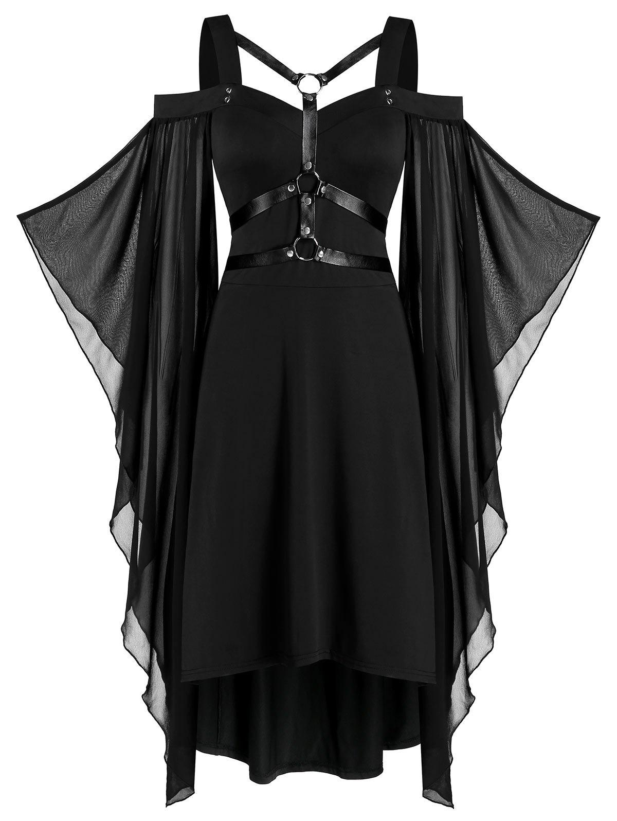 Fancy Batwing Sleeve Harness Insert Lace-up High Low Dress