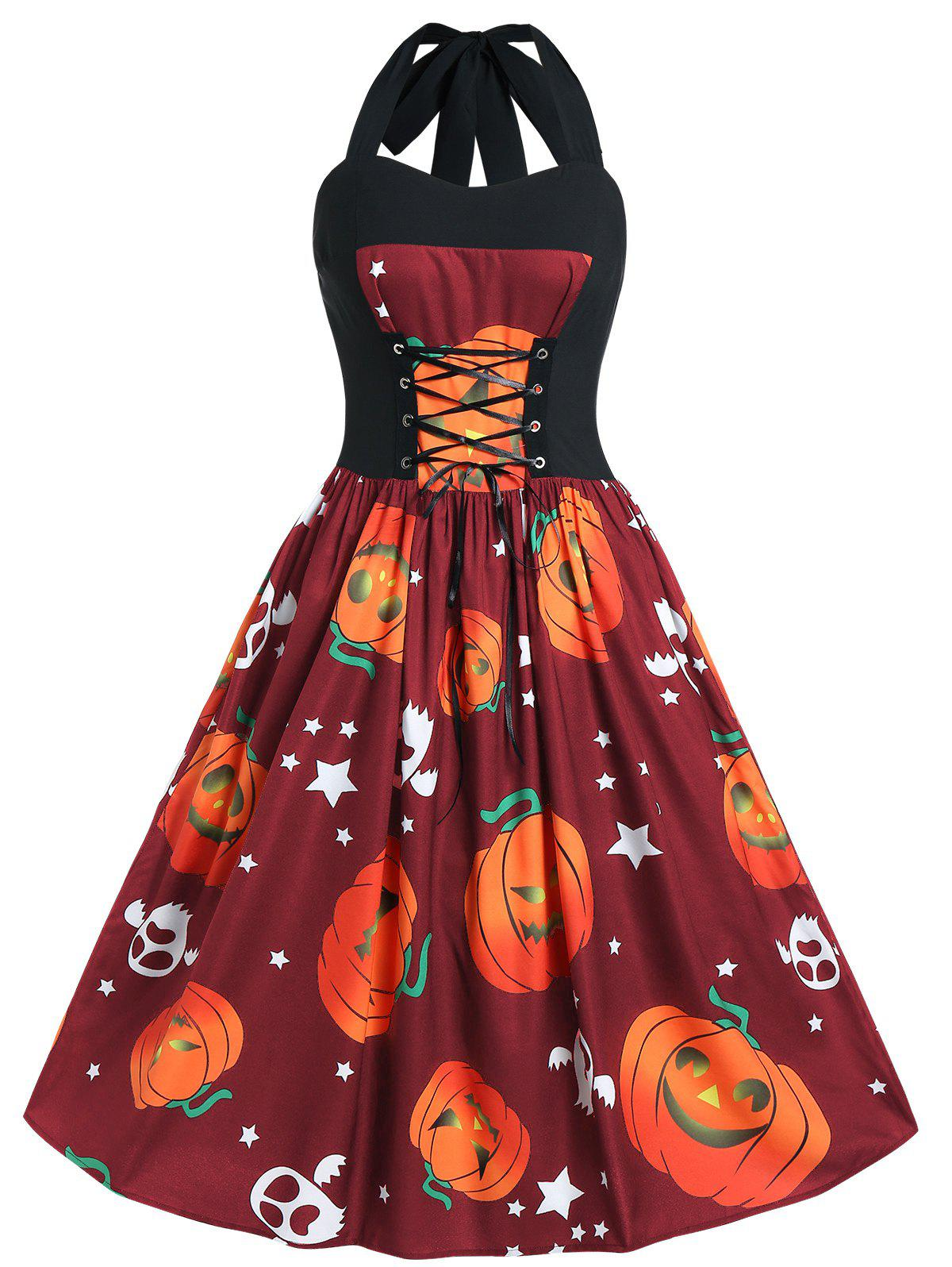 Plus Size Pumpkin Print Halloween Pin Up Dress