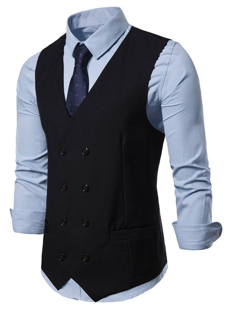 Online Solid Color V-Neck Double Breasted Waistcoat