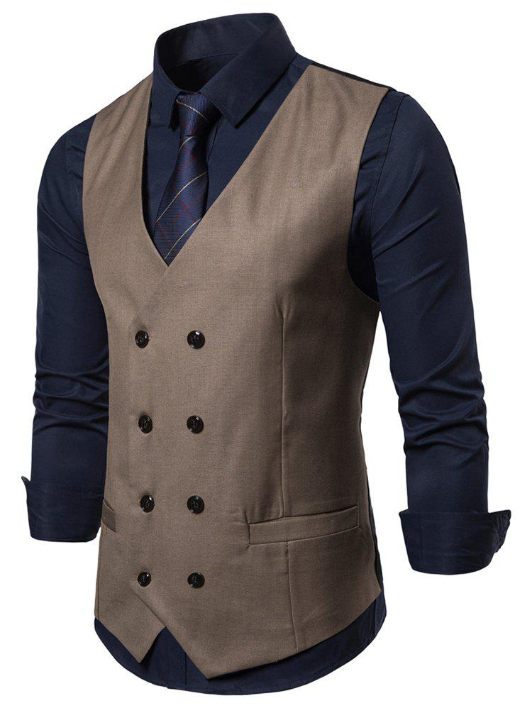 Latest Solid Color V-Neck Double Breasted Waistcoat