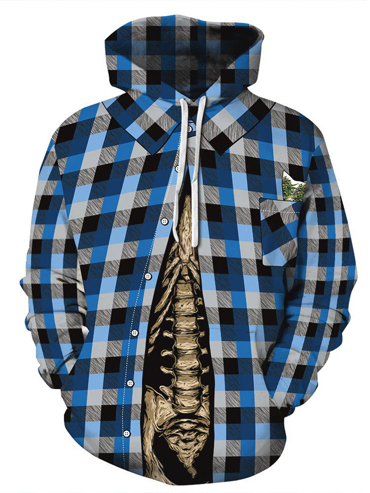 Skeleton Plaid Print Pocket Hoodie Multi-A L
