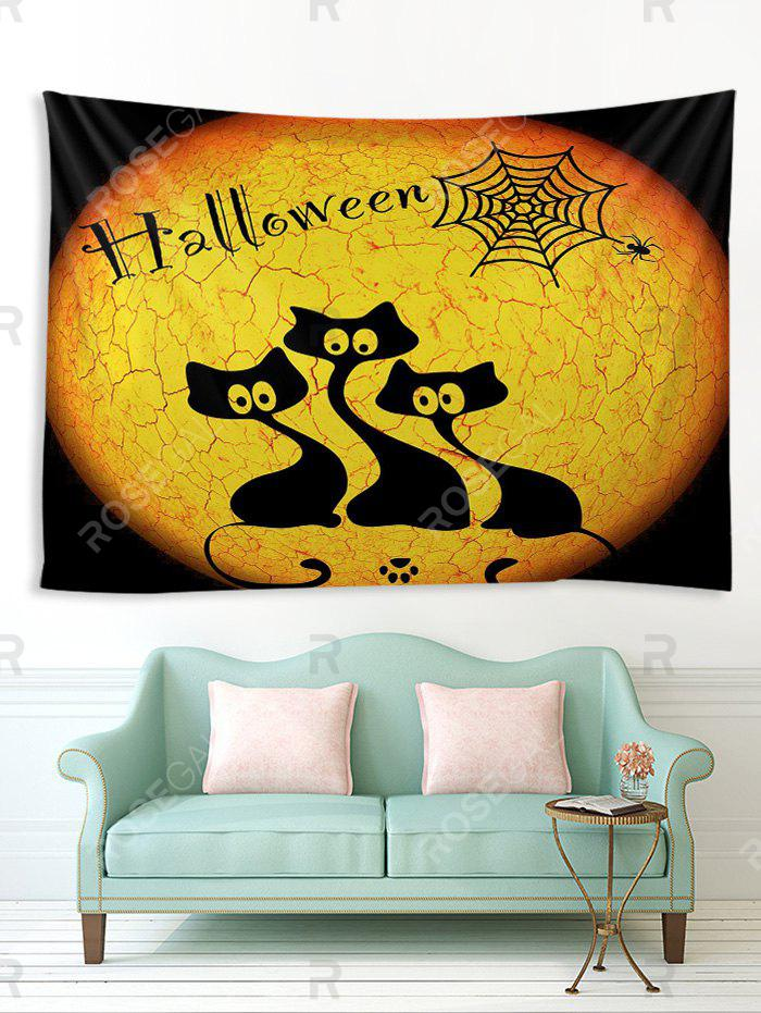 Store Halloween Night Cats Print Tapestry Wall Hanging Art Decoration