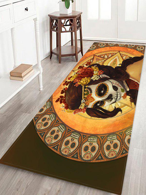 Trendy Halloween Skull Witch Printed Floor Rug