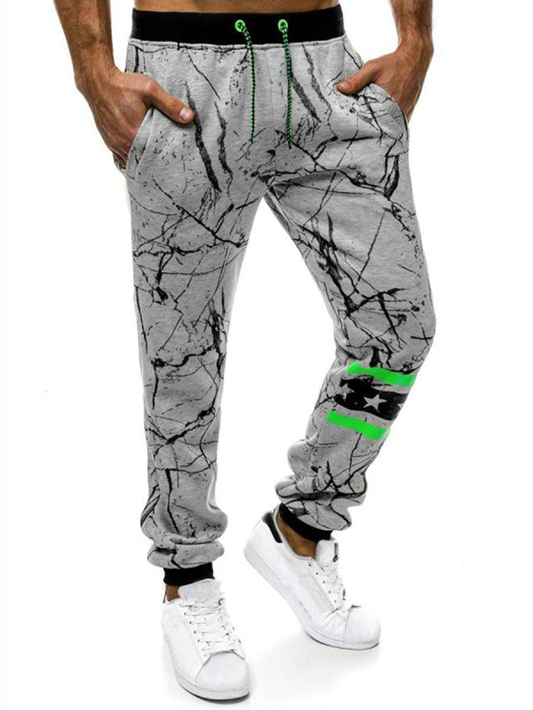 Online Striped Accent Cracked Print Jogger Pants
