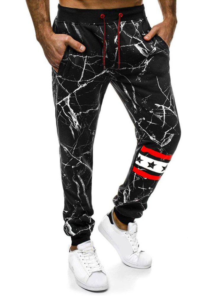 Chic Striped Accent Cracked Print Jogger Pants