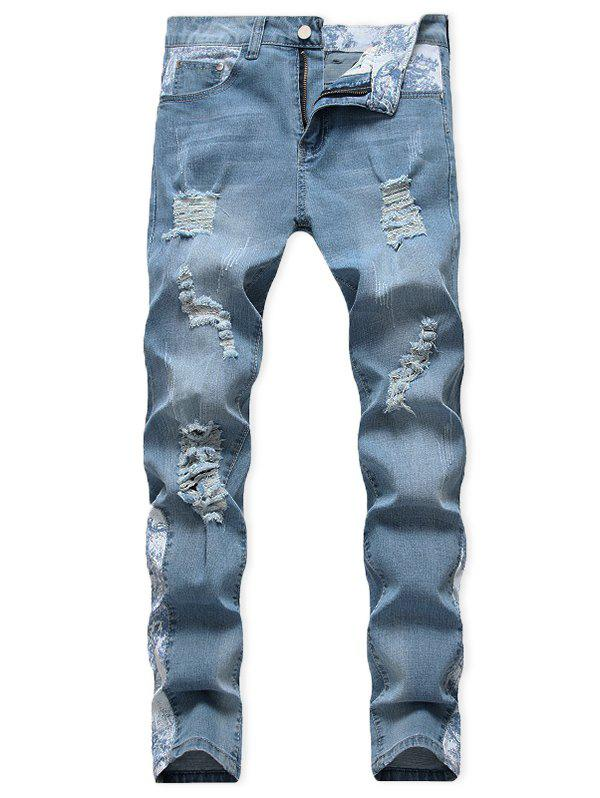 Online Casual Ripped Decoration Zip Fly Jeans