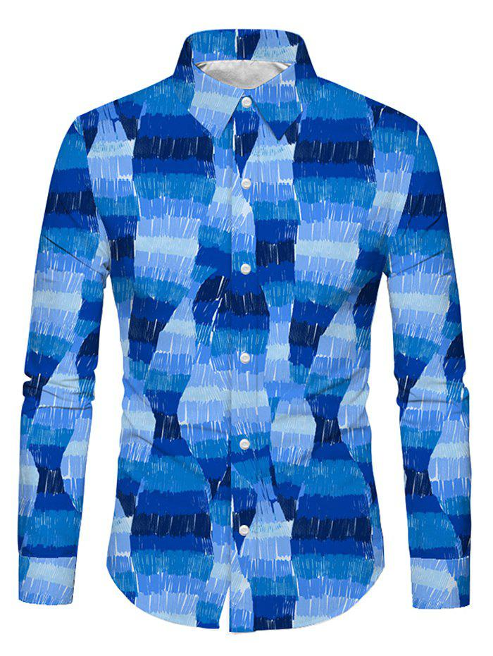 Latest Casual Printed Long-sleeved Button Up Shirt