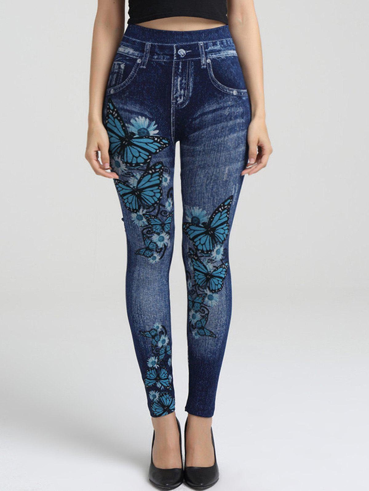 Latest Floral Butterfly Print Elastic Waist Jeggings