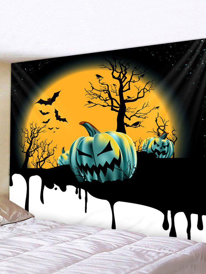 Discount Halloween Moon Night Pumpkins Print Tapestry Wall Hanging Art Decoration