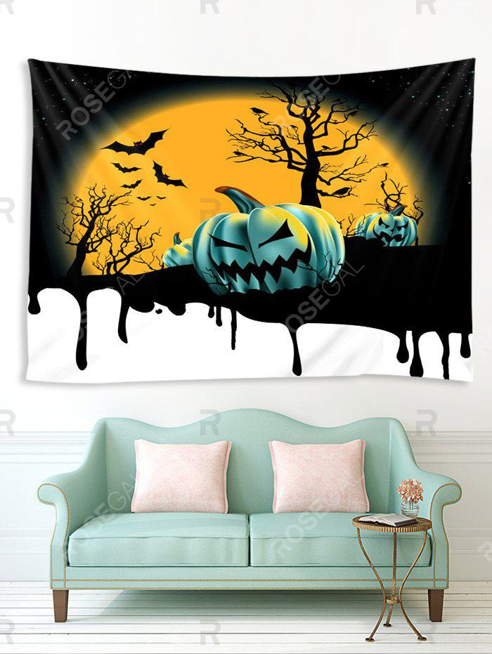 Online Halloween Moon Night Pumpkins Print Tapestry Wall Hanging Art Decoration