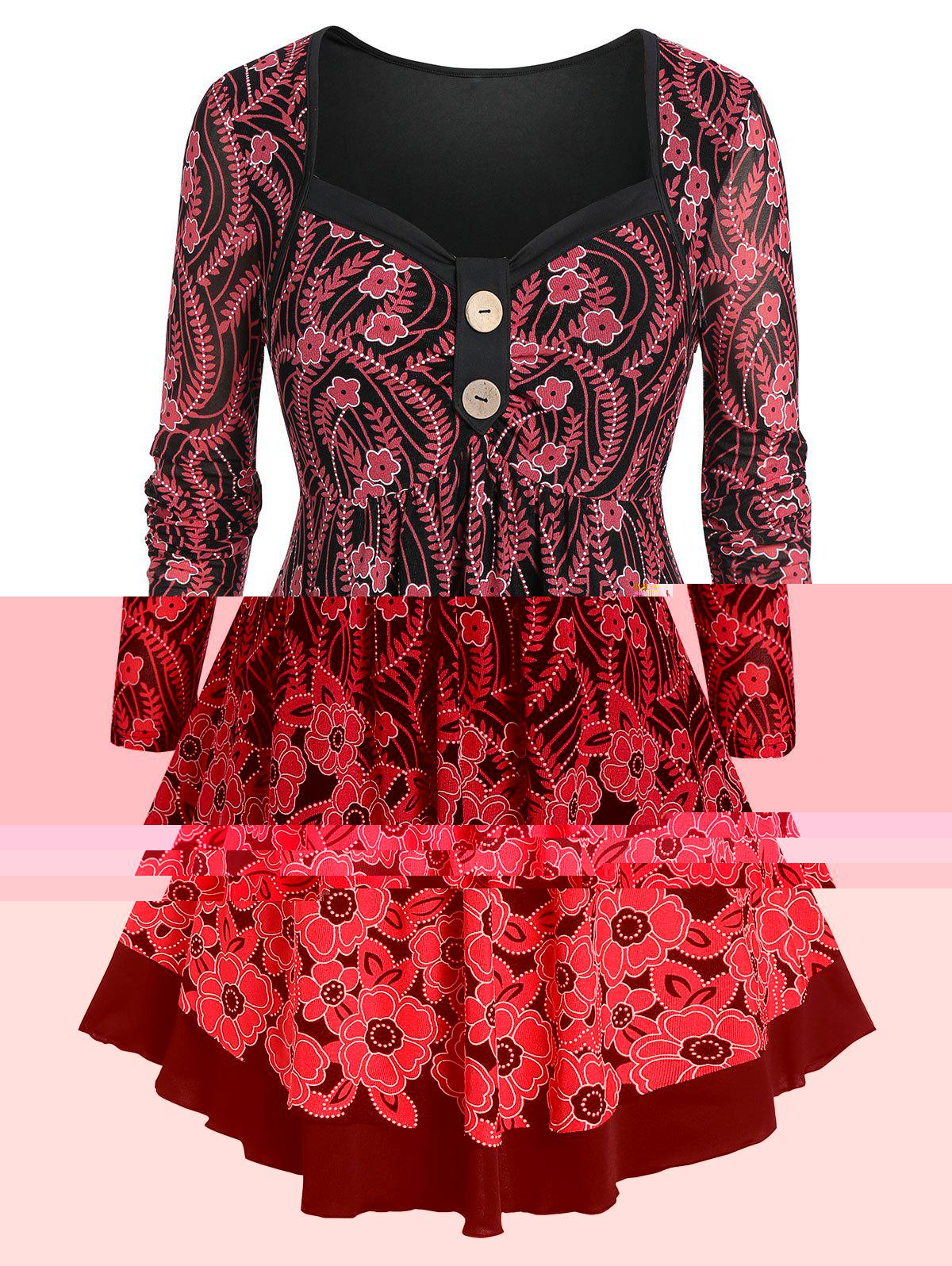 New Plus Size Tunic Floral Print Sweetheart Collar T Shirt