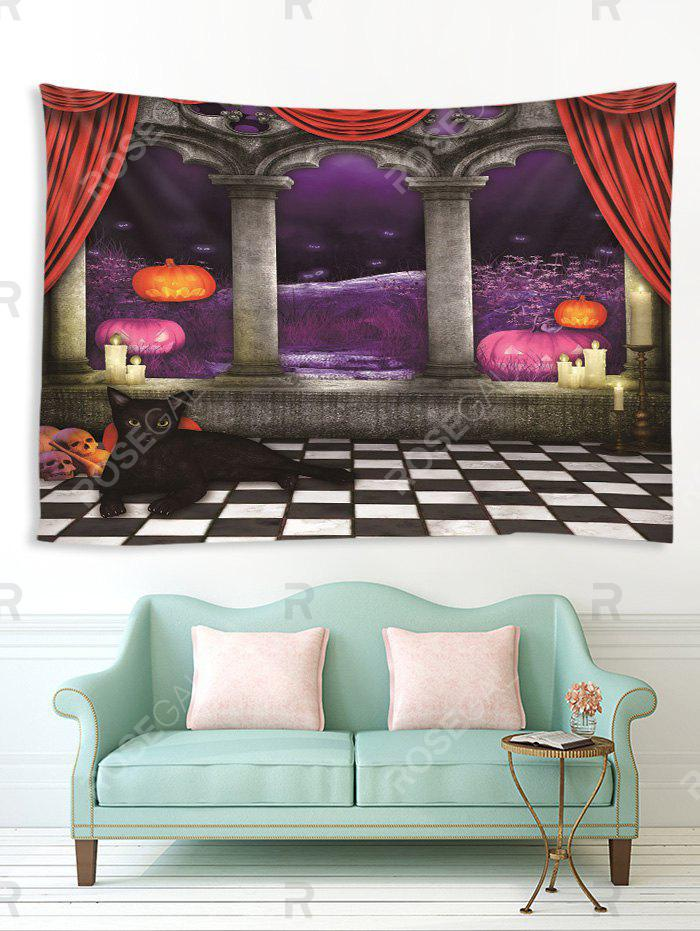 Buy Halloween Night Corridor Cat Print Tapestry Wall Hanging Art Decoration