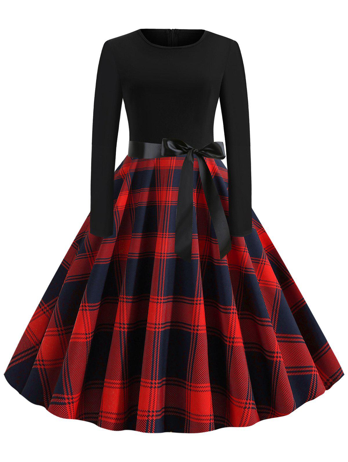 Shops Plaid Belted Vintage Flare Dress