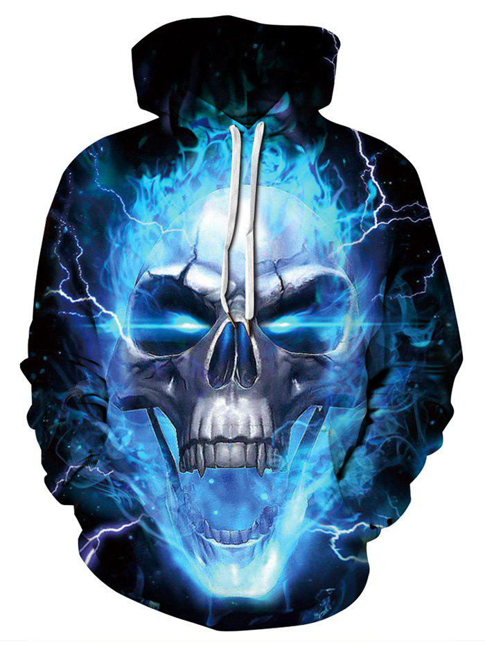 Hot Skull Lightning Print Pocket Hoodie
