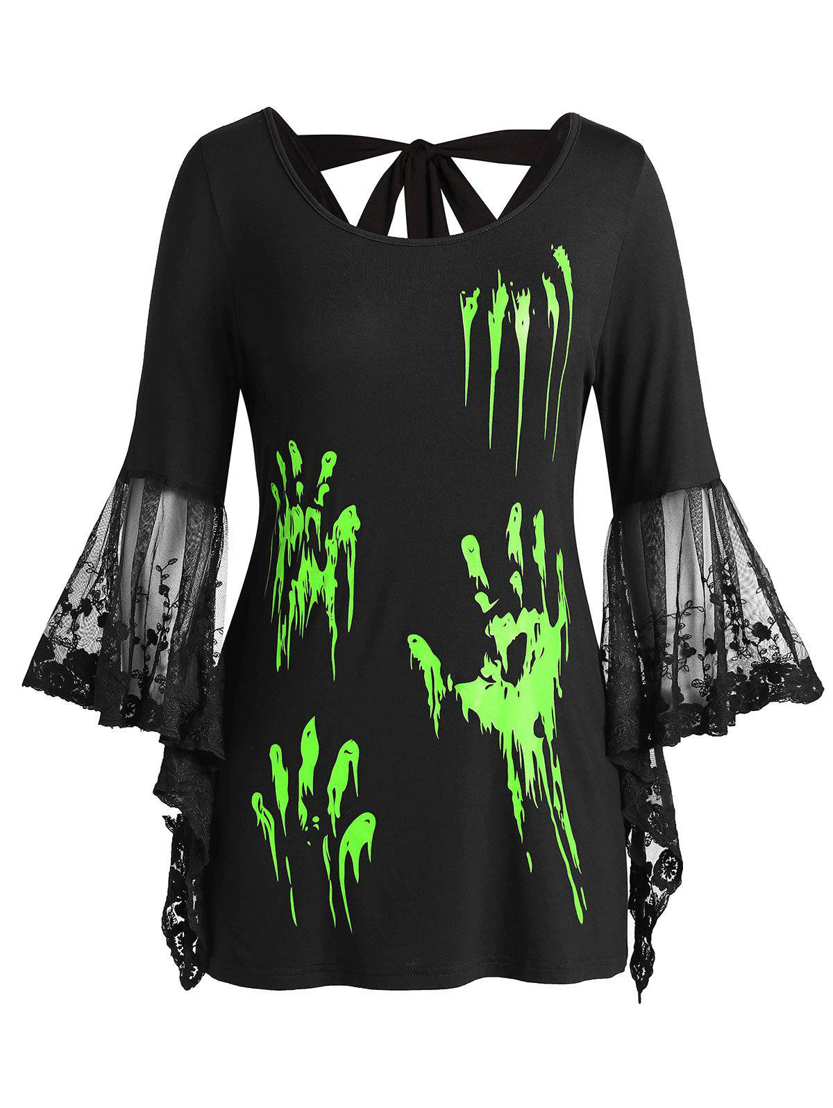 Shop Plus Size Halloween Blood Hands Flare Sleeve Knotted Sheer Tee