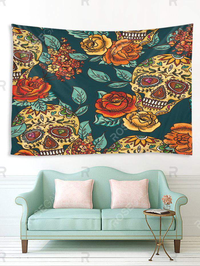 Trendy Halloween Flowers and Skull Print Tapestry Wall Hanging Art Decoration