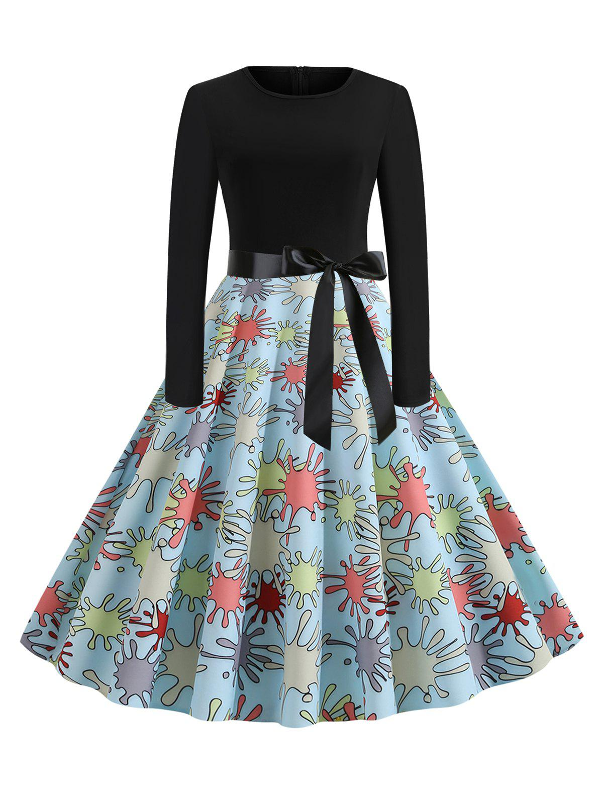 Outfits Splash Print Belted Round Neck Flare Dress