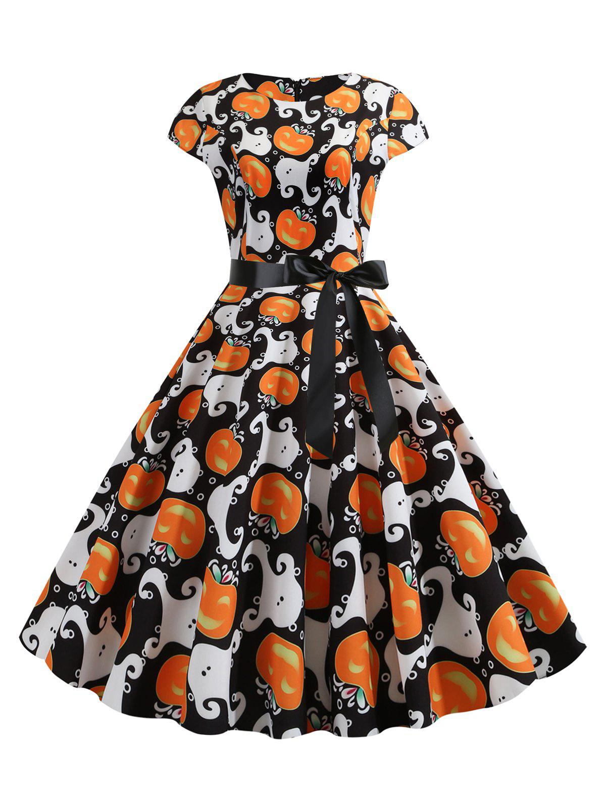 Sale Pumpkin Ghost Belted A Line Halloween Dress