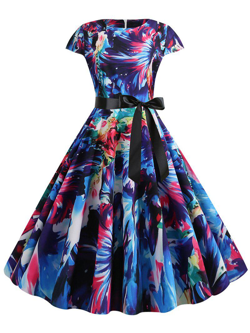Cheap Watercolor Print Round Neck Belted A Line Dress