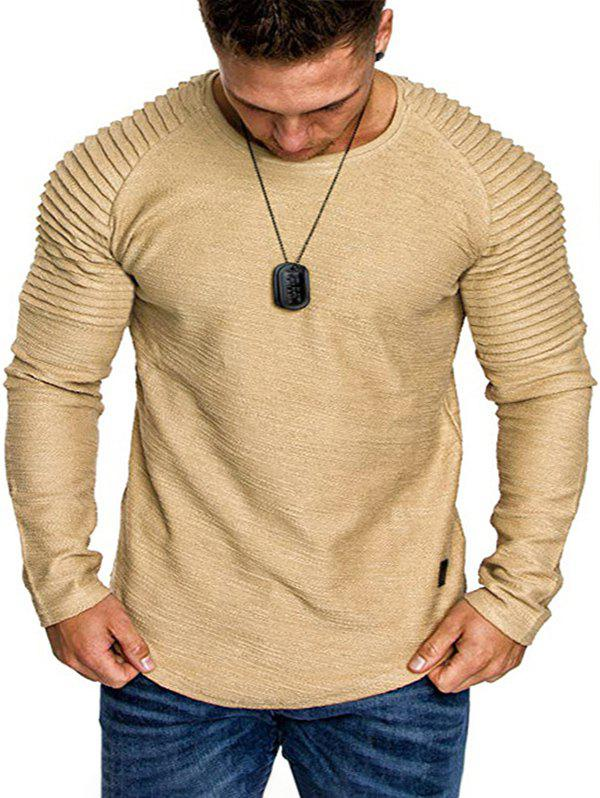 Discount Solid Color Pleated Raglan Sleeve Curved Hem Tee