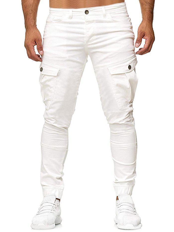 Pantalon de Jogging Cargo Simple Zippé Blanc L