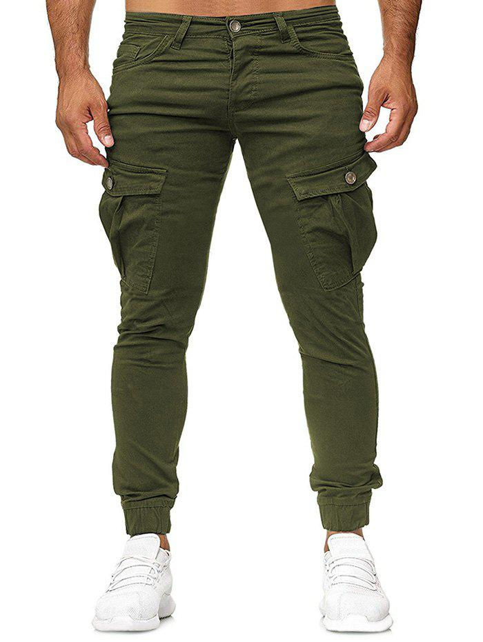 Chic Plain Zip Fly Cargo Jogger Pants
