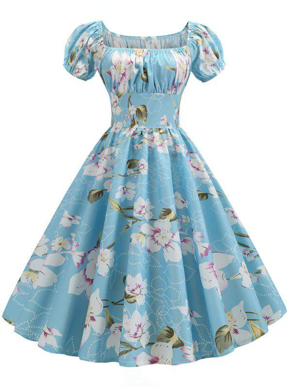 Store Plus Size Floral Print Ruched Vintage Swing Dress