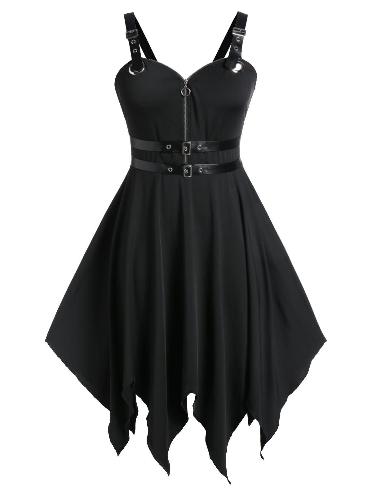 New Plus Size Handkerchief Buckle PU Trims Gothic Halloween Dress