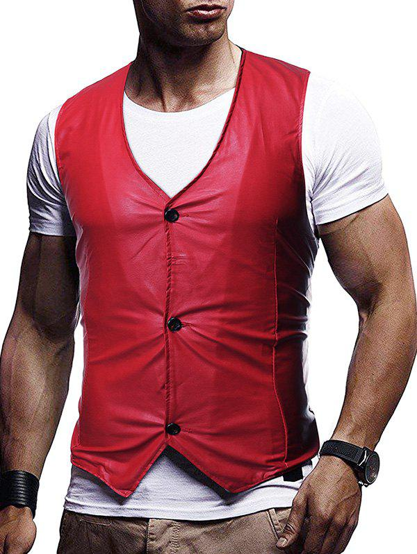 Chic Button Up Buckle Back Business Vinyl Vest