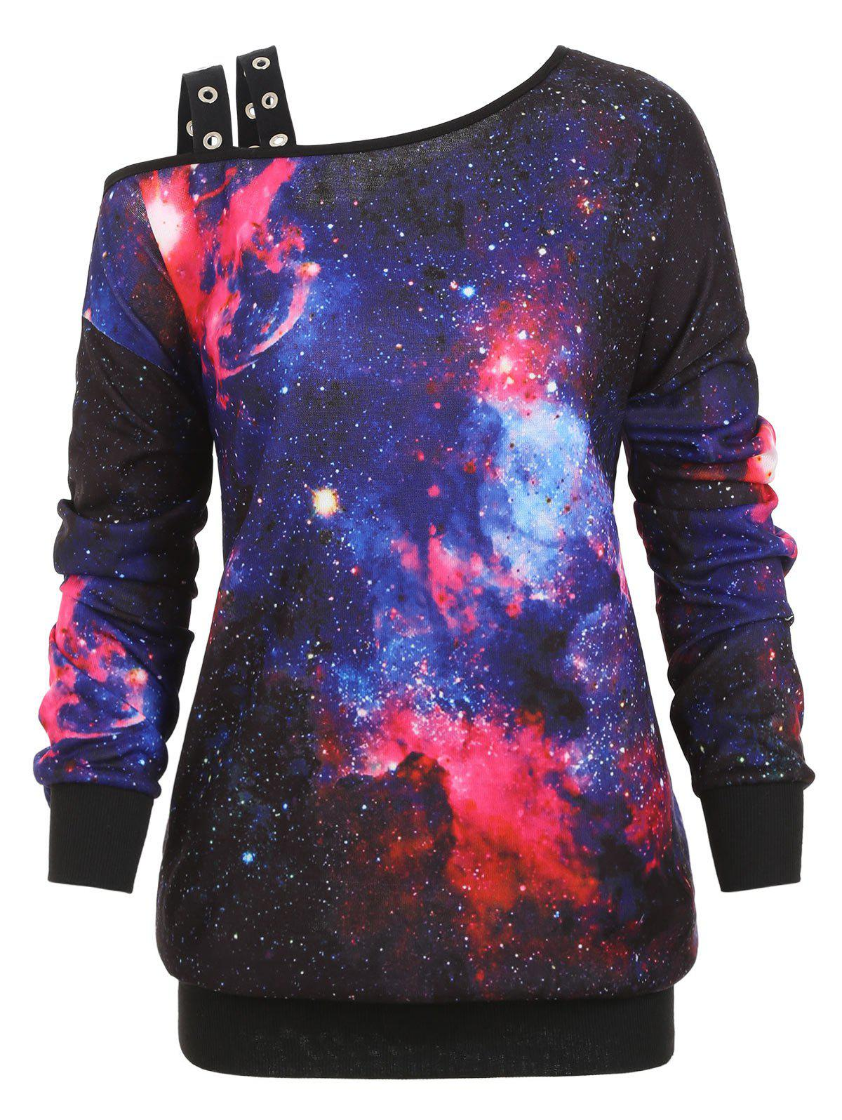 Outfit Grommet Cold Shoulder Galaxy Print Plus Size Sweatshirt