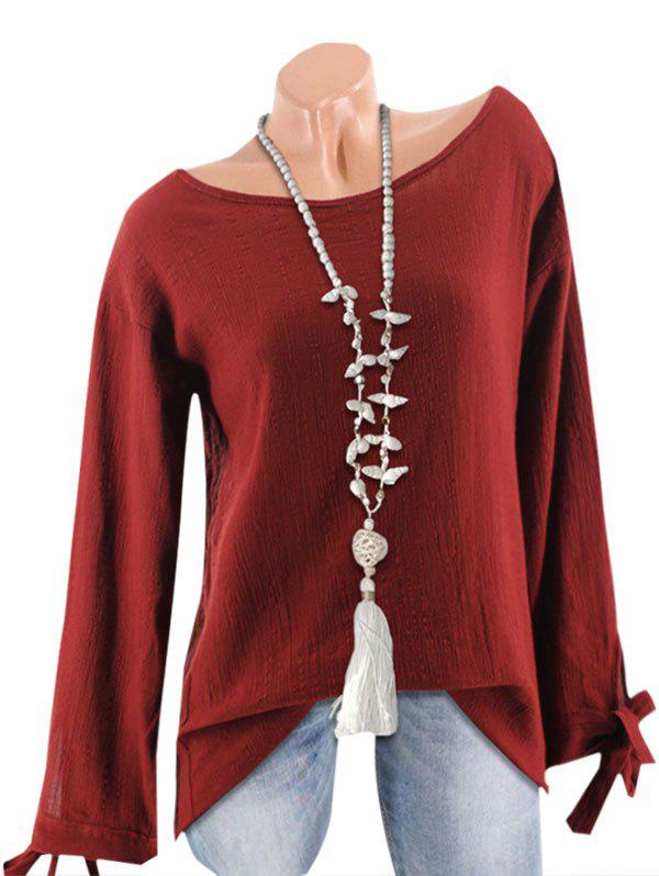 Outfit Textured Tie Cuffs Long Sleeve Blouse