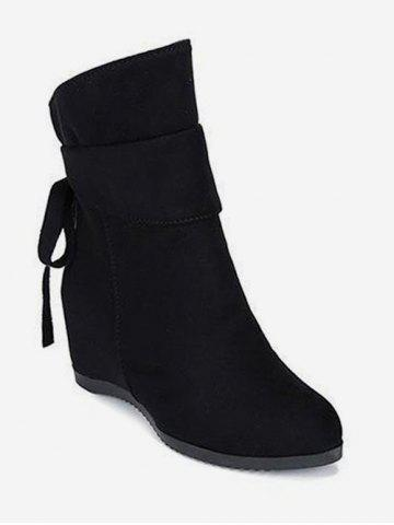 Increased Internal Back Bow Suede Ankle Boots
