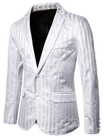 Vertical Striped Single Breasted Notch Lapel Blazer - WHITE - 2XL